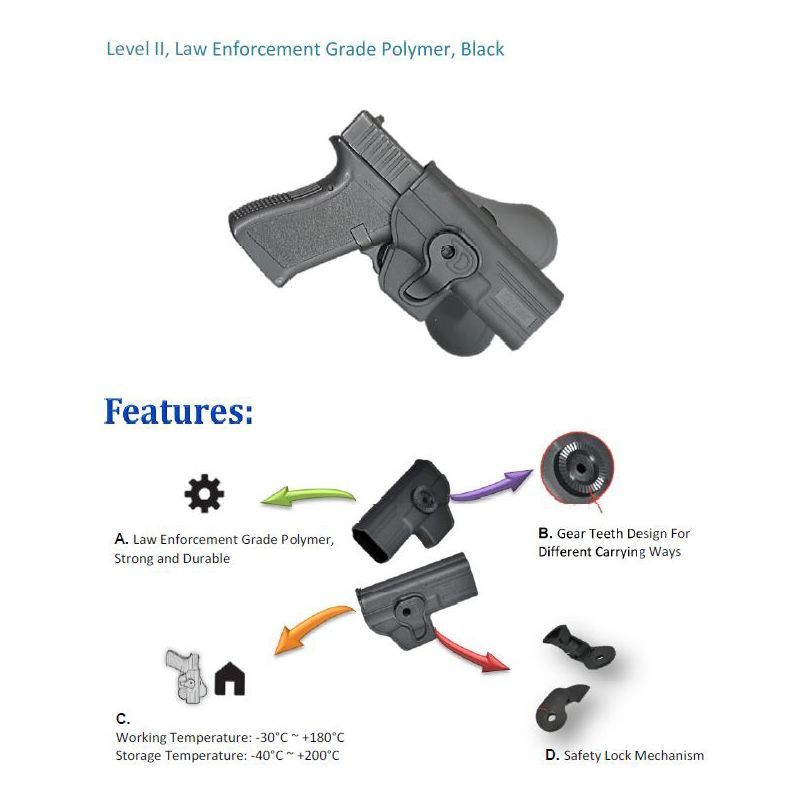 CZ 75 P07 P09 Modular Level II Retention Polymer Paddle Holster - Dark Earth