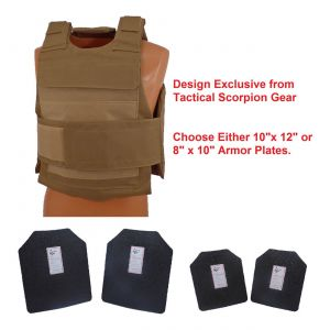 Level III AR500 Steel Armor 2 Pc Dual Pocket Lightweight Vest Coyote Brown