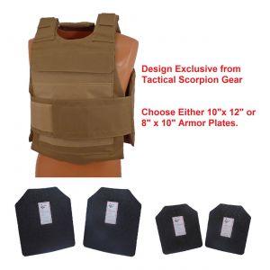 Level III AR500 Steel Armor 2 Pc Dual Pocket Lightweight Vest Coyote Brown