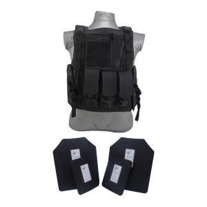 Tactical Scorpion Gear 4 Pc Level III AR500 Body Armor Bearcat Molle Vest Black