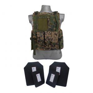Tactical Scorpion Gear 4 Pc Level III AR500 Body Armor Bearcat Molle Vest Digital Woodland